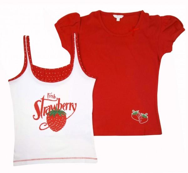 Mädchen T-Shirt und Top im Set Rot-Weiß TCM Tchibo