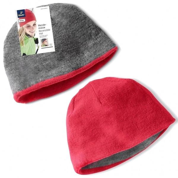 TCM Tchibo Damen Mütze Wendbar Grau Rot
