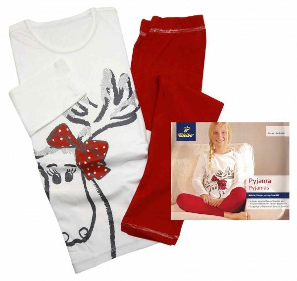 TCM Tchibo Mädchen Schlafanzug Weiß-Rot
