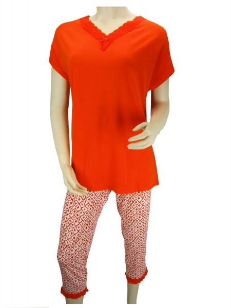 TCM Tchibo Damen Schlafanzug Orange Weiß