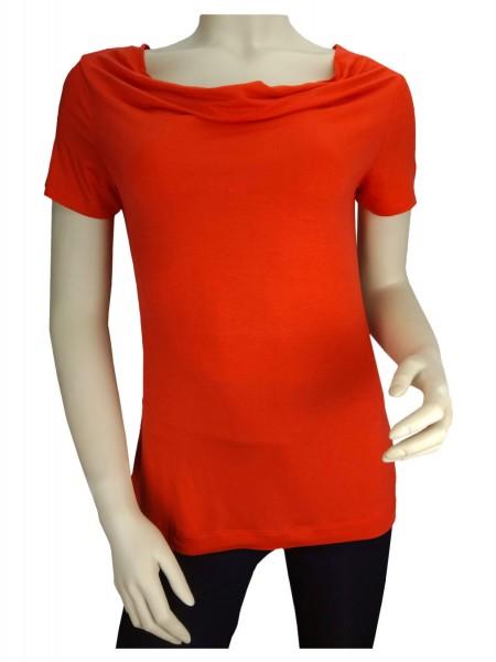 TCM Tchibo Damen Shirt mit Wasserfallausschnitt Rot