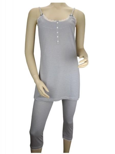 TCM Tchibo Damen Pyjama mit Spitzenbesatz 2tlg.Trägertop und Caprihose