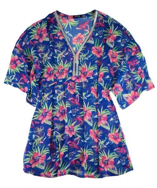 TCM Tchibo Damen Tunika Blau mit Blumenprint L 44/46