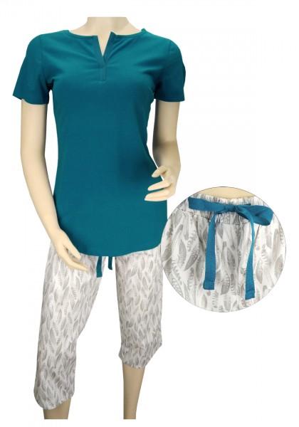 TCM Tchibo Damen Schlafanzug Petrol-weiß mit Print