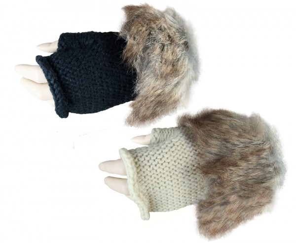 Damen Handschuhe mit Kunstfell Fingerlos