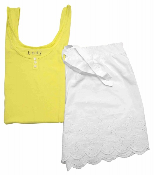 TCM Tchibo Damen Schlafanzug Shorty Set Gelb-weiß