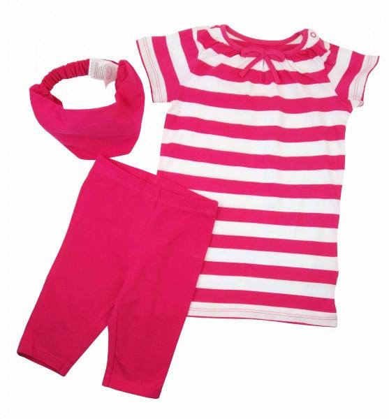 Mädchen Longshirt 3/4-Leggings und Haarband im Set Pink-Weiß 86/92 TCM Tchibo