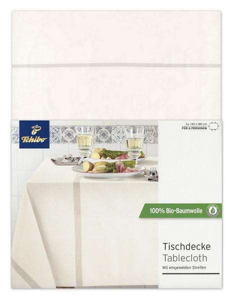 TCM Tchibo Tischdecke Creme Streifen