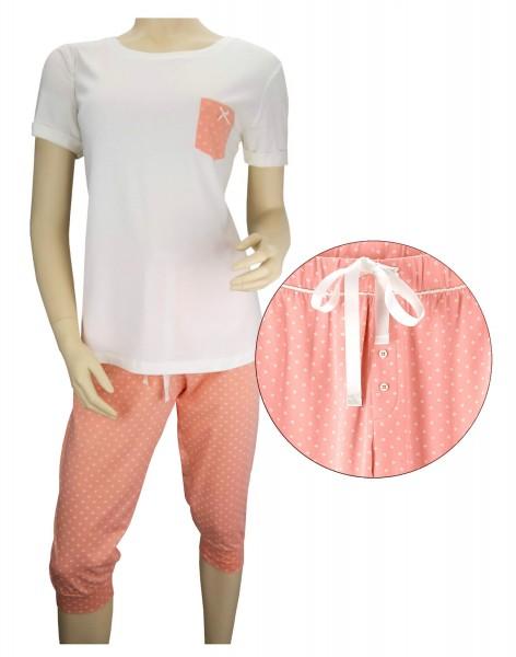 TCM Tchibo Damen Schlafanzug 2tlg. T-Shirt und Caprihose