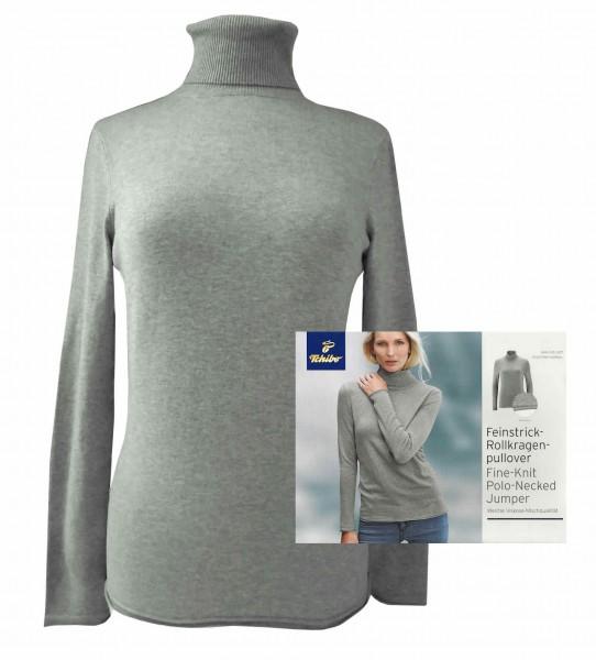 TCM Tchibo Damen Feinstrick Rollkragenpullover Grau