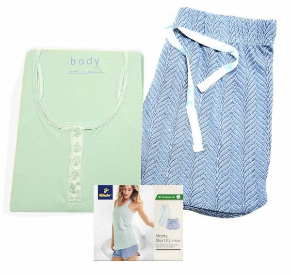 TCM Tchibo Damen Schlafanzug Shorty Pyjama Mint Blau