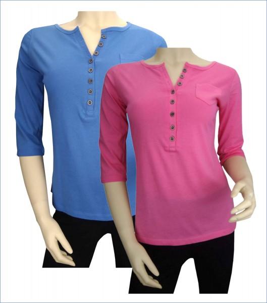 TCM Tchibo Damen Shirt mit Knopfleiste