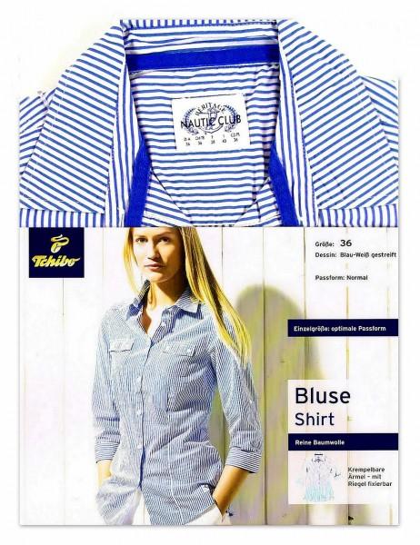 Damen Bluse Blau-Weiß gestreift TCM Tchibo