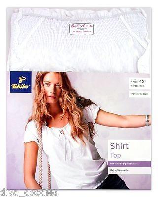 TCM Tchibo Damen-Shirt mit aufwändiger Stickerei Baumwolle Weiß 36 40 42 44 NEU