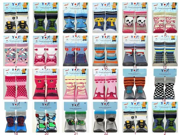 YO! Baby Socken mit Gummisohle Hausschuhe