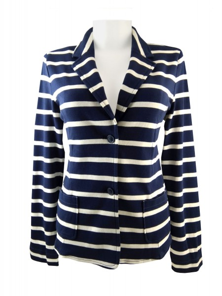 TCM Tchibo Damen Jersey Blazer Blau-weiß gestreift